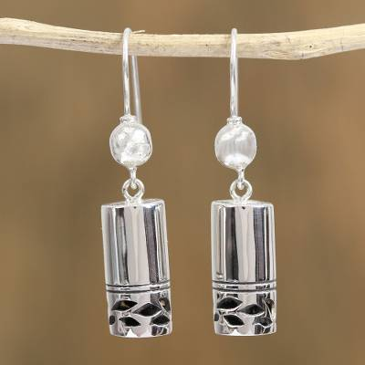 Sterling silver dangle earrings, 'Mysterious Form' - Cylindrical Sterling Silver Dangle Earrings from Mexico