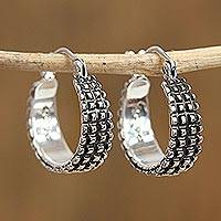 Sterling silver hoop earrings, 'Ebbing Light' - Combination Finish Sterling Silver Hoop Earrings from Mexico