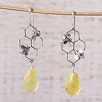 Amber dangle earrings, 'Busy Bees' - Amber Bumblebee Dangle Earrings from Mexico
