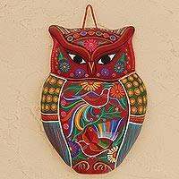 Ceramic wall sculpture, 'Passionate Owl' - Floral Ceramic Owl Wall Sculpture in Red from Mexico