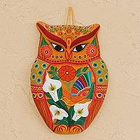 Ceramic wall sculpture, 'Vibrant Owl' - Hand-Painted Ceramic Wall Sculpture in Orange from Mexico