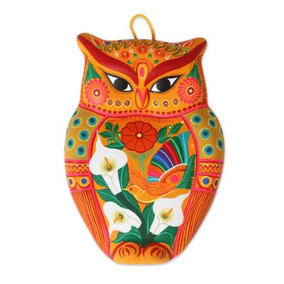 Ceramic wall sculpture, 'Vibrant Owl' - Hand-Painted Ceramic Wall Sculpture in Orange from Mexico