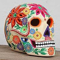 Ceramic tealight holder, 'Floral Skull' - Floral Skull Ceramic Tealight Holder from Mexico