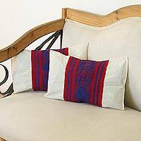 Cotton cushion covers, 'Royal Comfort' (pair) - Cotton Cushion Covers in Crimson and Blue from Mexico (Pair)
