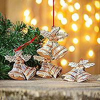 Sterling silver accent copper ornaments, 'Bethlehem Bells' (set of 4) - Sterling Silver Accent Copper Bell Ornaments (Set of 4)