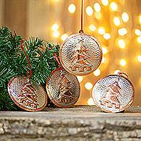 Sterling silver accented copper ornaments, 'Christmas Pine' (set of 4) - Sterling Silver Accent Copper Tree Ornaments (Set of 4)