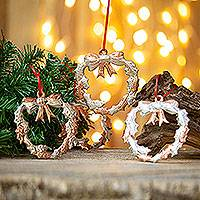 Sterling silver accented copper ornaments, 'Christmas Wreath' (set of 4) - Sterling Silver Accent Copper Wreath Ornaments (Set of 4)