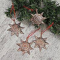 Sterling silver accent copper ornaments, 'Mexican Pinatas' (set of 4) - Sterling Silver Accent Copper Pinata Ornaments (Set of 4)