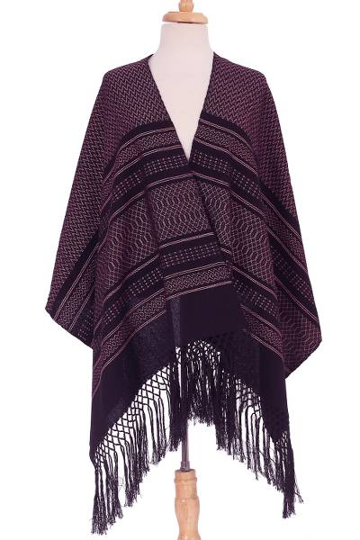 Cotton rebozo shawl, 'Pink Elegance' - Pink and Black Cotton Rebozo Shawl from Mexico