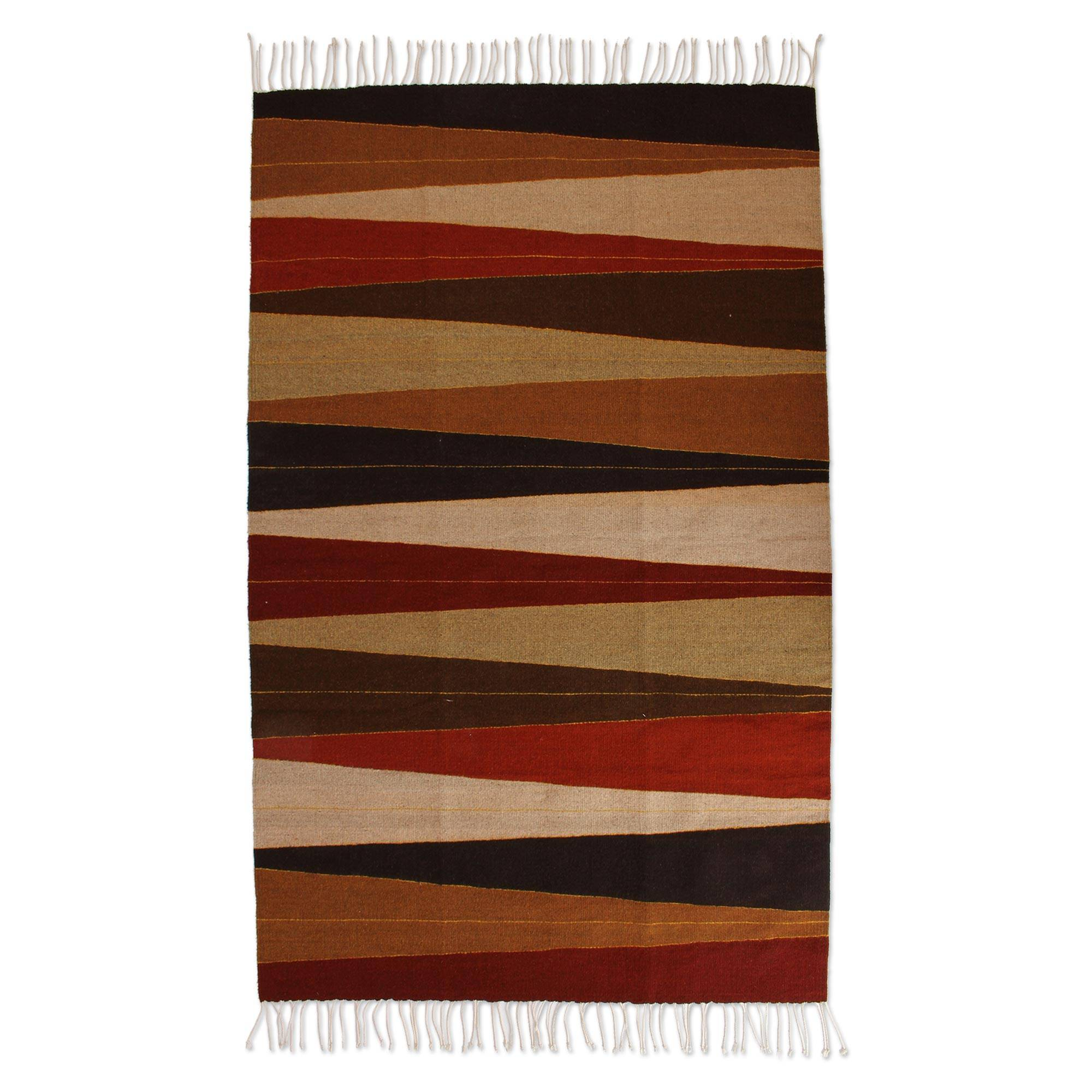 Handwoven Earth Tone Wool Area Rug From Mexico 4x6 Earth Rays