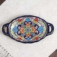 Ceramic butter dish, 'Tezihutlan Flowers' - Hand-Painted Floral Ceramic Butter Dish from Mexico