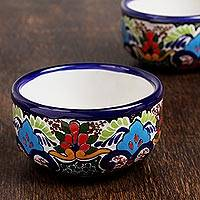 Ceramic bowls, 'Tezihutlan Flowers' (pair) - Hand-Painted Floral Ceramic Bowls from Mexico (Pair)