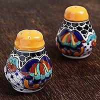 Ceramic salt and pepper shakers, 'Zacatlan Flowers' (pair) - Hand-Painted Ceramic Salt and Pepper Shakers (Pair)