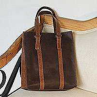 Leather tote, 'Contemporary Espresso' - Handmade Leather Tote in Chestnut and Espresso from Mexico