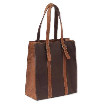 Handmade Leather Tote in Chestnut and Espresso from Mexico