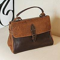 Leather handbag, 'Traditional Vanguard' - Leather Handbag in Chestnut and Espresso from Mexico