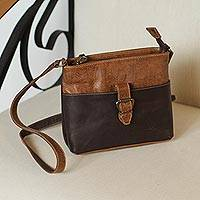 Leather sling, 'Brunch' - Embossed Leather Sling in Chocolate and Espresso