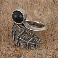 Ceramic wrap ring, 'Barro Negro Leaf' - Leaf-Shaped Sterling Silver Wrap Ring from Mexico