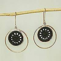 Sterling silver and ceramic button earrings, 'Within the Eclipse' - Ceramic and Sterling Silver Button Earrings from Mexico