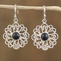 Sterling silver dangle earrings, 'Flowering Barro Negro' - Floral Sterling Silver Dangle Earrings from Mexico