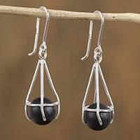 Sterling silver and ceramic dangle earrings, 'Modern Barro Negro' - Modern Sterling Silver and Ceramic Earrings from Mexico