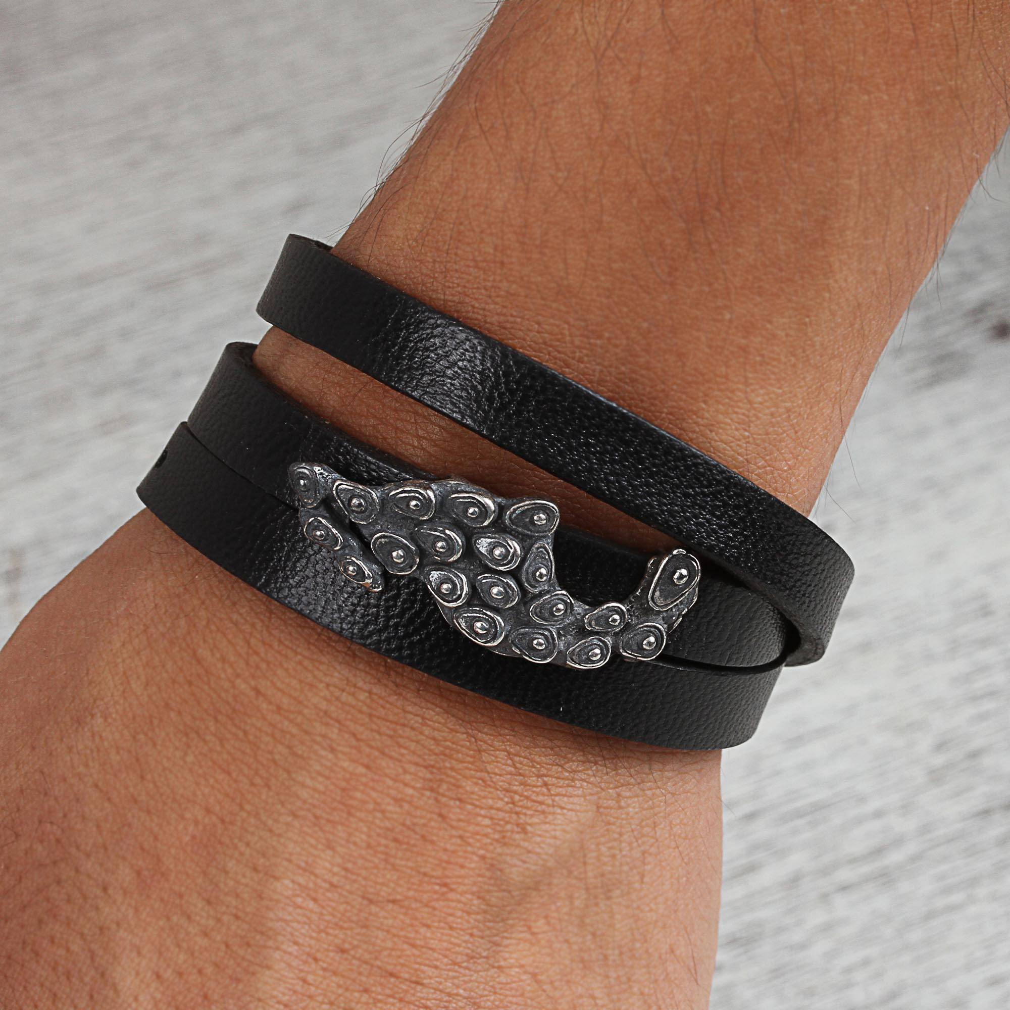 Sterling Silver And Leather Wrap Bracelet From Mexico Avocados