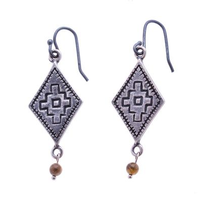 Chalcedony Chakana Dangle Earrings from Mexico