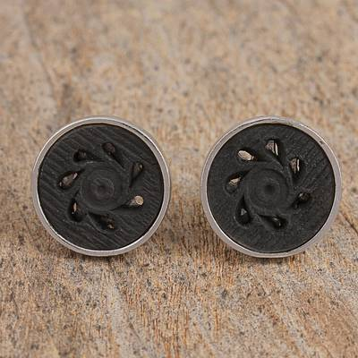 Sterling silver and ceramic cufflinks, 'Barro Negro Sophistication' - Sterling Silver and Ceramic Floral Cufflinks from Mexico