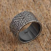 Sterling silver band ring, 'Solar Codex' - Sterling Silver Chakana Band Ring from Mexico