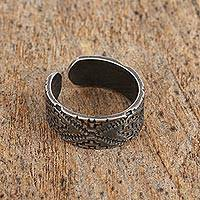 Sterling silver wrap ring, 'In the Underworld' - Sterling Silver Chakana Wrap Ring from Mexico