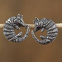 Sterling silver button earrings, 'Curled Armadillos' - Sterling Silver Armadillo Button Earrings from Mexico