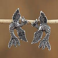 Sterling silver button earrings, 'Soaring Sweetly' - Sterling Silver Bird Button Earrings from Mexico