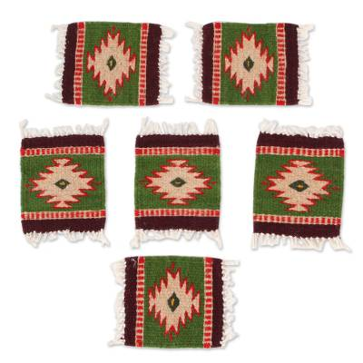Zapotec Wool Coasters in Green from Mexico (Set of 6)