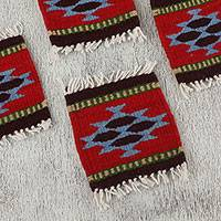 Wool coasters, 'Zapotec Party' (set of 6) - Zapotec Wool Coasters in Red from Mexico (Set of 6)