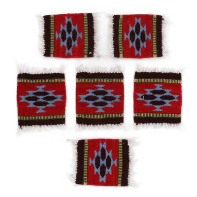 Zapotec Wool Coasters in Red from Mexico (Set of 6)
