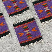 Wool coasters, 'Zapotec Iris' (set of 6) - Zapotec Wool Coasters in Iris from Mexico (Set of 6)