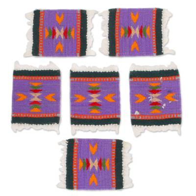 Zapotec Wool Coasters in Iris from Mexico (Set of 6)