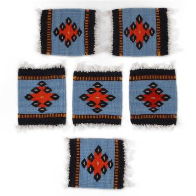 Wool coasters, 'Cerulean Zapotec' (set of 6) - Zapotec Wool Coasters in Cerulean from Mexico (Set of 6)