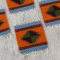 Wool coasters, 'Zapotec Intrigue' (set of 6) - Zapotec Wool Coasters in Orange from Mexico (Set of 6)