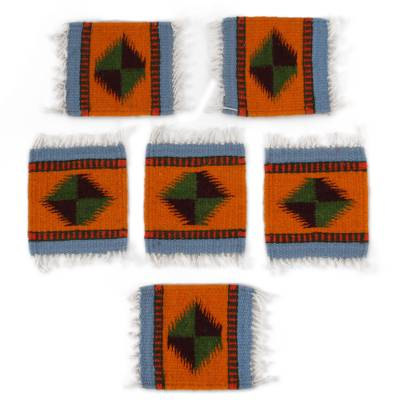 Zapotec Wool Coasters in Orange from Mexico (Set of 6)