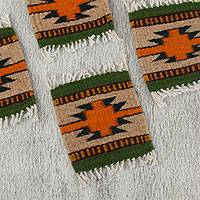 Wool coasters, 'Zapotec Form' (set of 6) - Handwoven Zapotec Wool Coasters from Mexico (Set of 6)