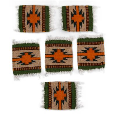 Handwoven Zapotec Wool Coasters from Mexico (Set of 6)