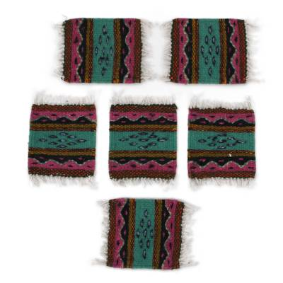 Wave Motif Zapotec Wool Coasters from Mexico (Set of 6)