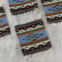 Wool coasters, 'Mexican Waves' (set of 6) - Naturally-Dyed Zapotec Wool Coasters from Mexico (Set of 6)
