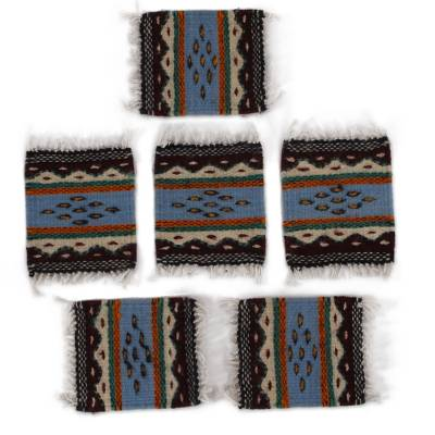 Naturally-Dyed Zapotec Wool Coasters from Mexico (Set of 6)