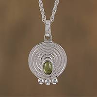 Peridot pendant necklace, 'Pre-Hispanic Modernity' - Circular Peridot Pendant Necklace Crafted in Mexico