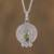 Peridot pendant necklace, 'Pre-Hispanic Modernity' - Circular Peridot Pendant Necklace Crafted in Mexico thumbail