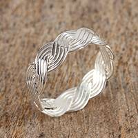Sterling silver band ring, 'Waves of Life' - Wave Motif Taxco Sterling Silver Band Ring from Mexico