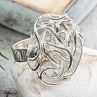 Sterling silver cocktail ring, 'Roots of the Earth' - Taxco Sterling Silver Cocktail Ring from Mexico