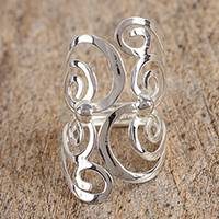 Sterling silver cocktail ring, 'Fantasy Spirals' - Spiral Motif Taxco Sterling Silver Cocktail Ring from Mexico